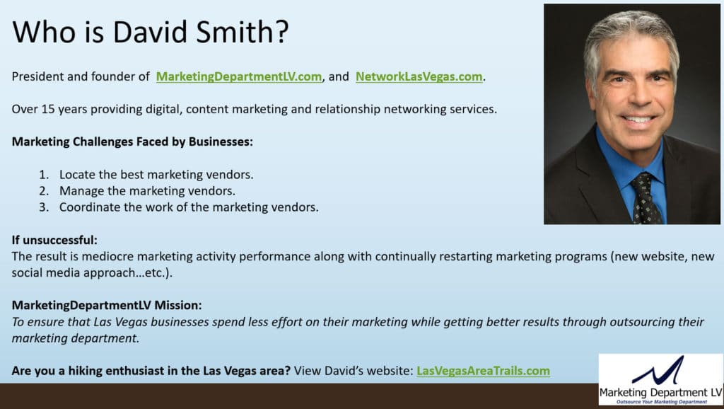 David Smith President of Marketing Department LV, LLC