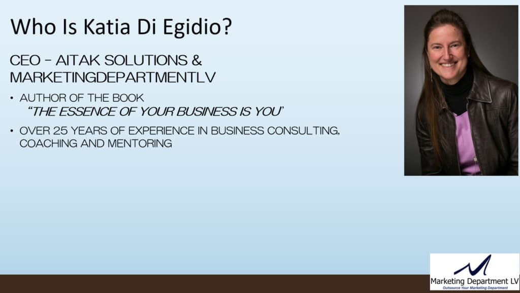 Katia Di Egidio CEO of Marketing Department LV LLC