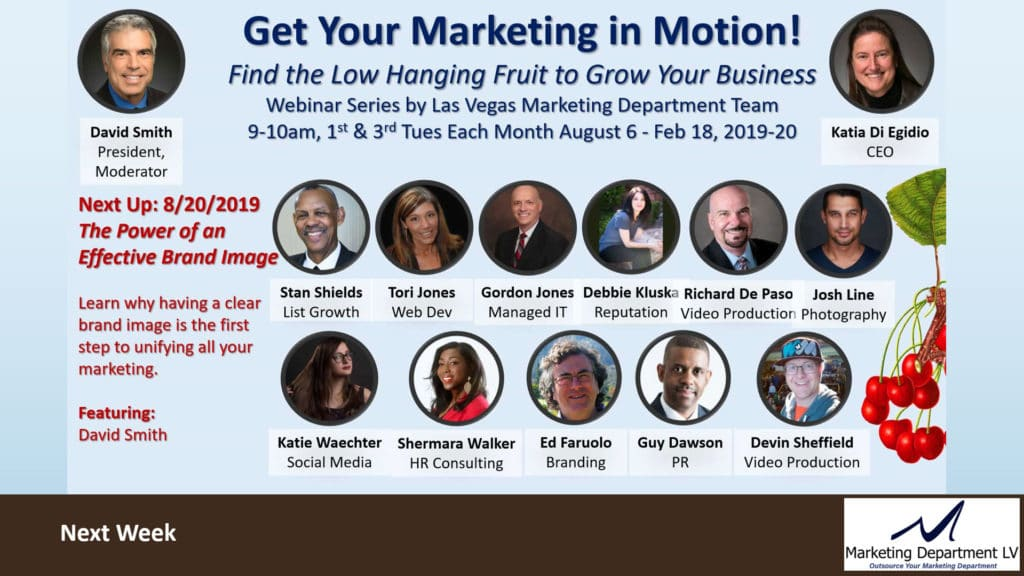 Upcoming Webinar in Get Your Marketing in Motion Series by Marketing Department LV, Las Vegas