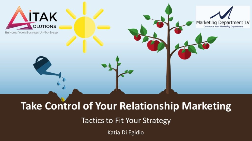 Take Control of Your Relationship Marketing, Katia DiEgidio, Webinar in the Series Get Your Marketing In Motion by the Team of MarketingDepartmentLV.com Slide 001