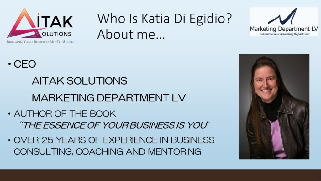 Take Control of Your Relationship Marketing, Katia DiEgidio, Webinar in the Series Get Your Marketing In Motion by the Team of MarketingDepartmentLV.com Slide 003