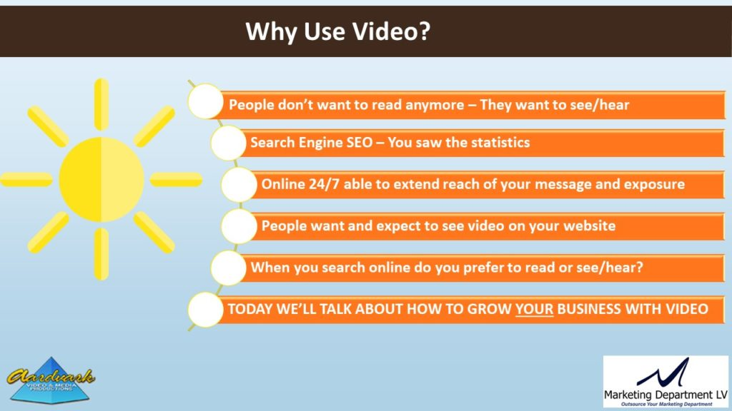 "Video Marketing Tactics, Richard De Paso, In the Webinar Series ""Get Your Marketing In Motion"" by Marketing Department LV LLC, Las Vegas, Nevada, Slide 018"