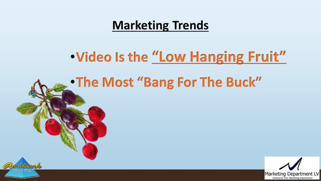 "Video Marketing Tactics, Richard De Paso, In the Webinar Series ""Get Your Marketing In Motion"" by Marketing Department LV LLC, Las Vegas, Nevada, Slide 019"