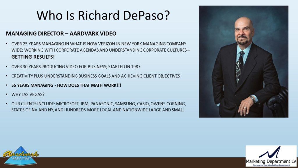 "Video Marketing Tactics, Richard De Paso, In the Webinar Series ""Get Your Marketing In Motion"" by Marketing Department LV LLC, Las Vegas, Nevada, Slide 001"