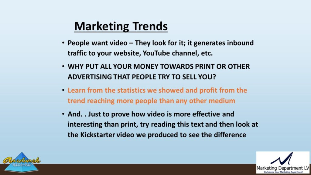 "Video Marketing Tactics, Richard De Paso, In the Webinar Series ""Get Your Marketing In Motion"" by Marketing Department LV LLC, Las Vegas, Nevada, Slide 020"