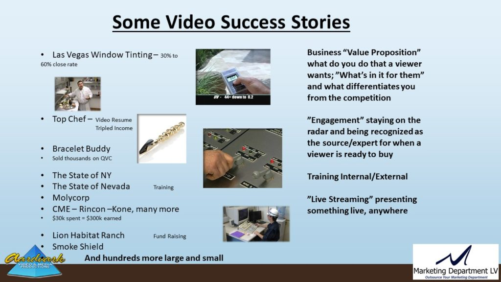 "Video Marketing Tactics, Richard De Paso, In the Webinar Series ""Get Your Marketing In Motion"" by Marketing Department LV LLC, Las Vegas, Nevada, Slide 026"