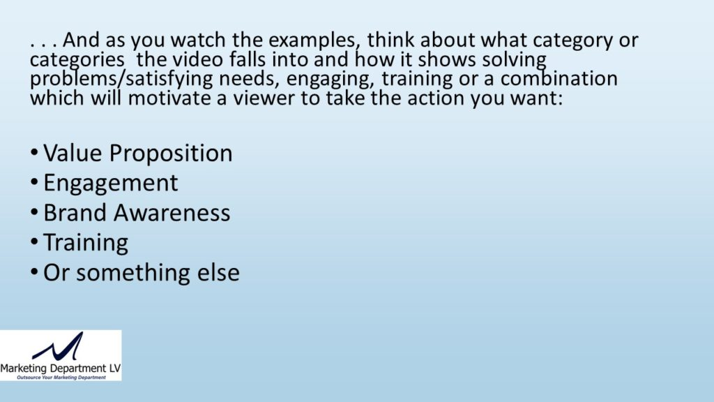 "Video Marketing Tactics, Richard De Paso, In the Webinar Series ""Get Your Marketing In Motion"" by Marketing Department LV LLC, Las Vegas, Nevada, Slide 028"