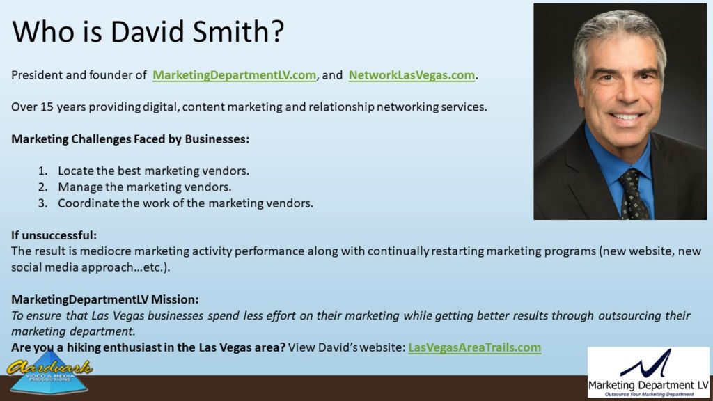 "Video Marketing Tactics, Richard De Paso, In the Webinar Series ""Get Your Marketing In Motion"" by Marketing Department LV LLC, Las Vegas, Nevada, Slide 003"
