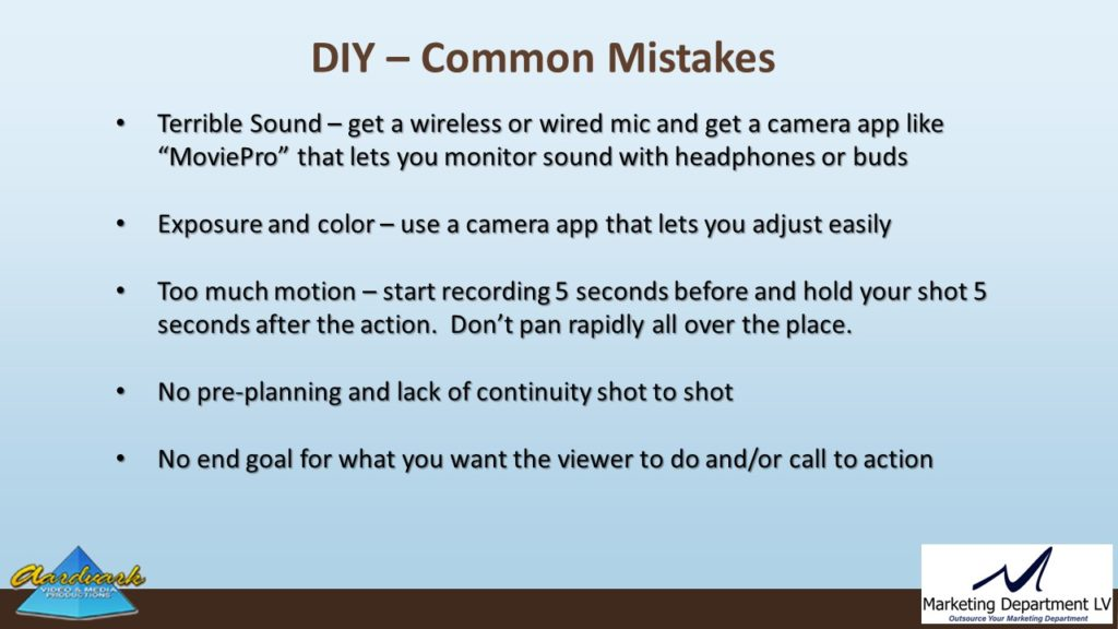 "Video Marketing Tactics, Richard De Paso, In the Webinar Series ""Get Your Marketing In Motion"" by Marketing Department LV LLC, Las Vegas, Nevada, Slide 031"