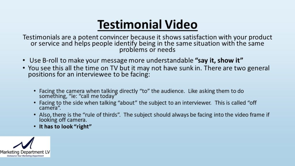 "Video Marketing Tactics, Richard De Paso, In the Webinar Series ""Get Your Marketing In Motion"" by Marketing Department LV LLC, Las Vegas, Nevada, Slide 032"