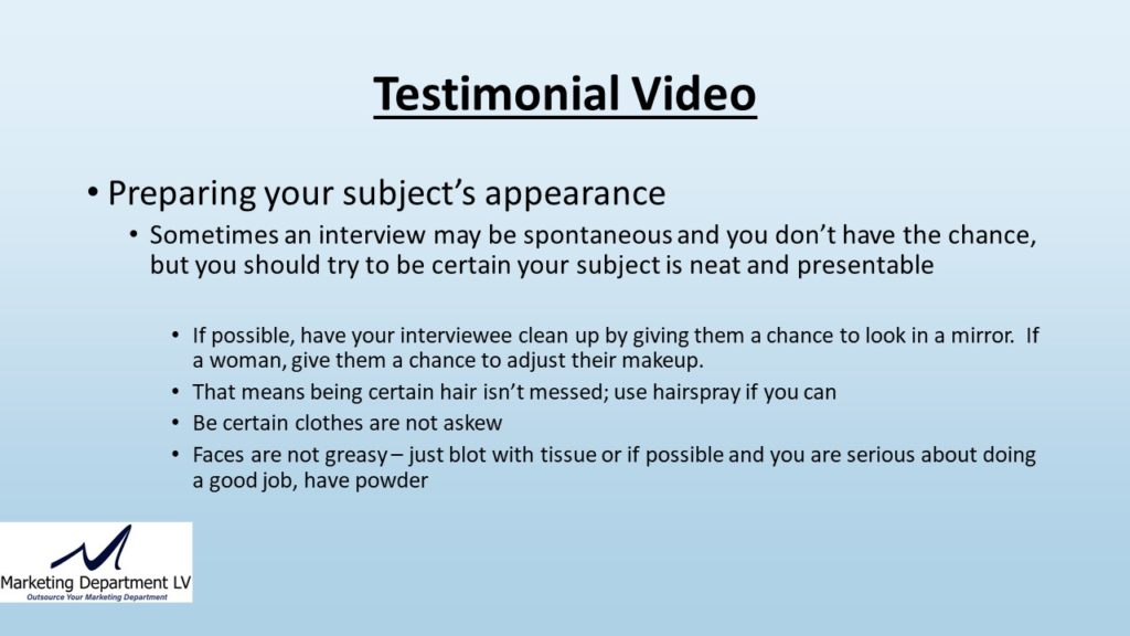 "Video Marketing Tactics, Richard De Paso, In the Webinar Series ""Get Your Marketing In Motion"" by Marketing Department LV LLC, Las Vegas, Nevada, Slide 034"