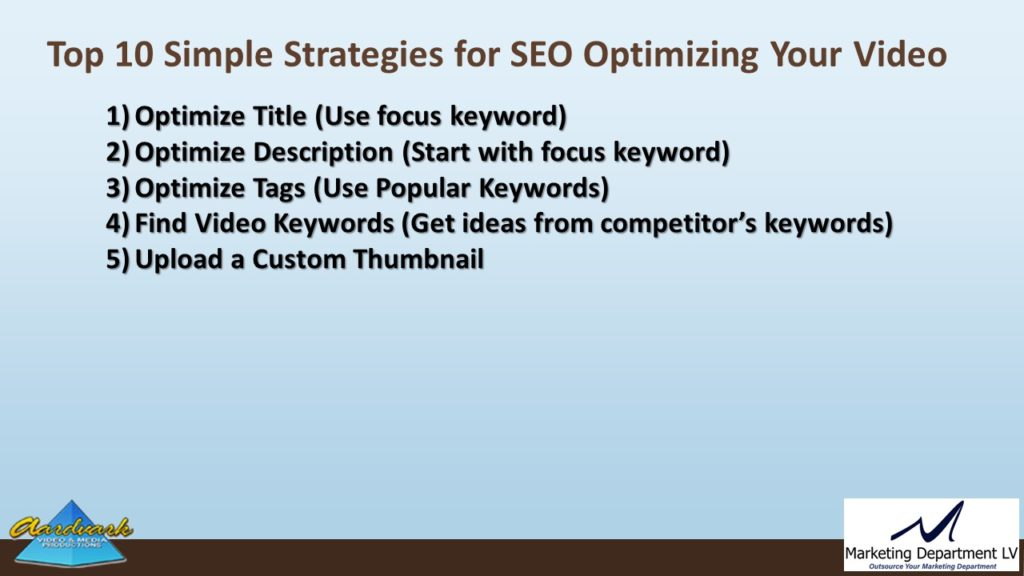 "Video Marketing Tactics, Richard De Paso, In the Webinar Series ""Get Your Marketing In Motion"" by Marketing Department LV LLC, Las Vegas, Nevada, Slide 037"