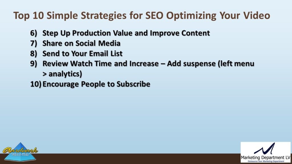"Video Marketing Tactics, Richard De Paso, In the Webinar Series ""Get Your Marketing In Motion"" by Marketing Department LV LLC, Las Vegas, Nevada, Slide 038"