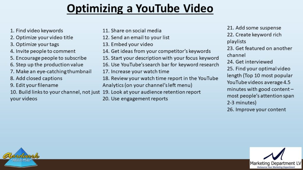 "Video Marketing Tactics, Richard De Paso, In the Webinar Series ""Get Your Marketing In Motion"" by Marketing Department LV LLC, Las Vegas, Nevada, Slide 061"