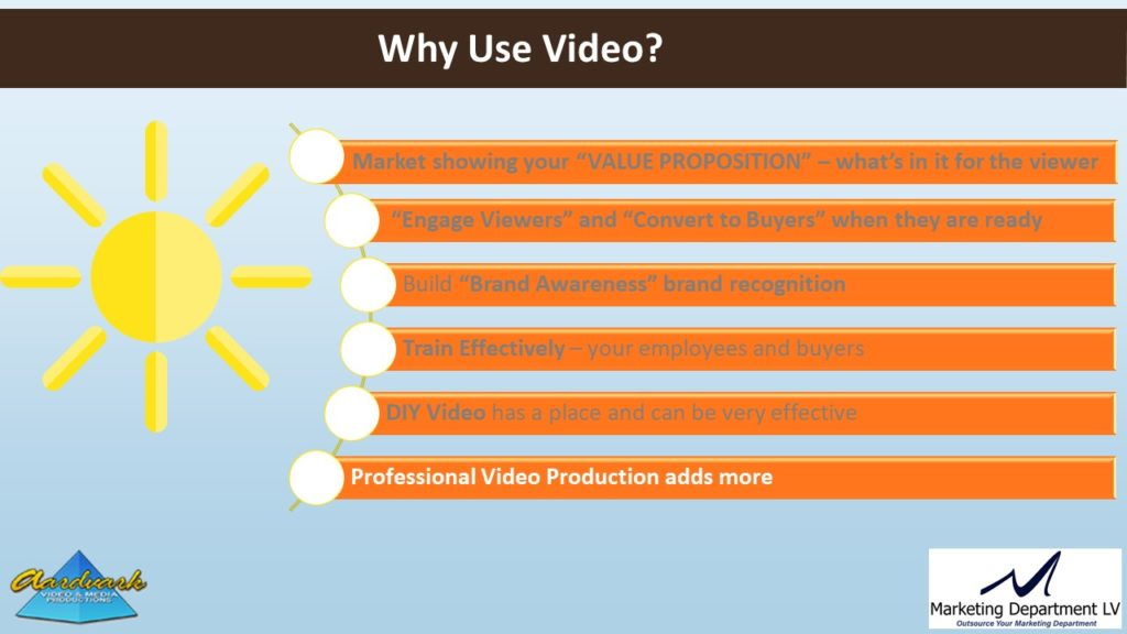 "Video Marketing Tactics, Richard De Paso, In the Webinar Series ""Get Your Marketing In Motion"" by Marketing Department LV LLC, Las Vegas, Nevada, Slide 060"