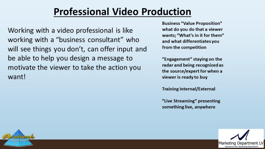"Video Marketing Tactics, Richard De Paso, In the Webinar Series ""Get Your Marketing In Motion"" by Marketing Department LV LLC, Las Vegas, Nevada, Slide 059"