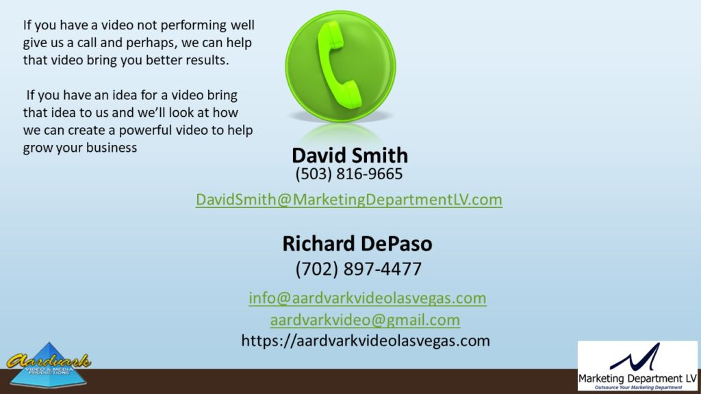 "Video Marketing Tactics, Richard De Paso, In the Webinar Series ""Get Your Marketing In Motion"" by Marketing Department LV LLC, Las Vegas, Nevada, Slide 045"