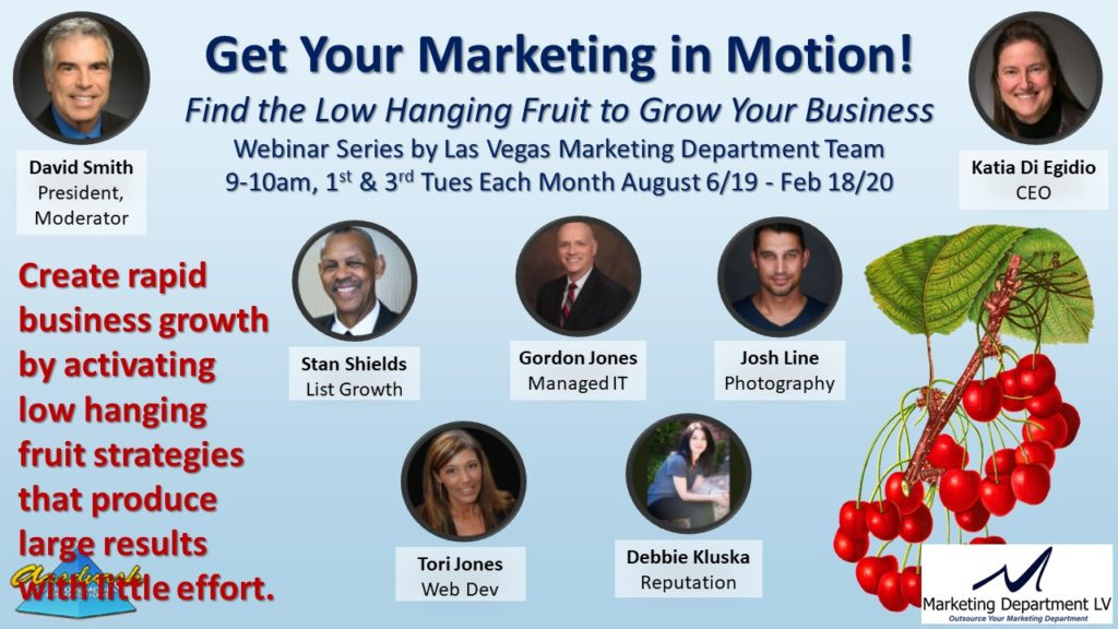 "Video Marketing Tactics, Richard De Paso, In the Webinar Series ""Get Your Marketing In Motion"" by Marketing Department LV LLC, Las Vegas, Nevada, Slide 044"