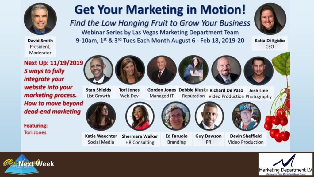 "Video Marketing Tactics, Richard De Paso, In the Webinar Series ""Get Your Marketing In Motion"" by Marketing Department LV LLC, Las Vegas, Nevada, Slide 042"