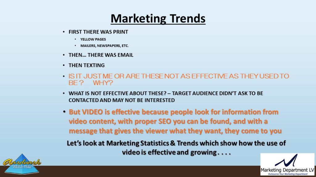"Video Marketing Tactics, Richard De Paso, In the Webinar Series ""Get Your Marketing In Motion"" by Marketing Department LV LLC, Las Vegas, Nevada, Slide 006"