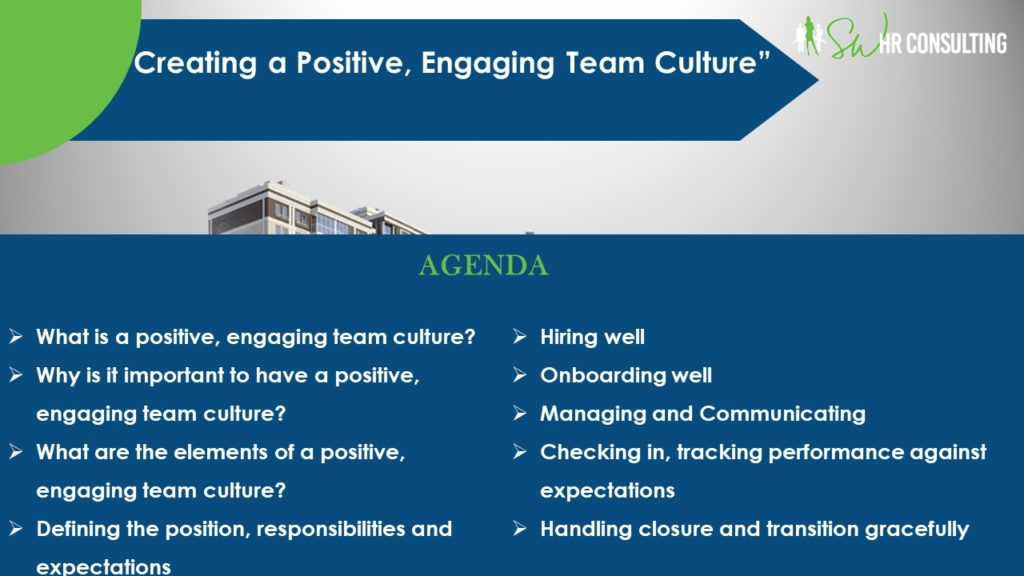 "Creating a Positive, Engaging Team Culture, Webinar Presenter Shermara Walker of SW HR Consulting in Las Vegas, Nevada, Part 12 of the MarketingDepartmentLV.com series ""Get Your Marketing In Motion"" Slide 001"
