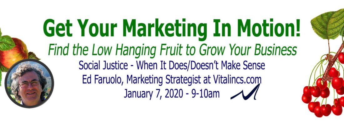 Social Justice Marketing Webinar, Ed Faruolo of Vitalincs.com, Webinar in the Marketing In Motion Series of MarketingDepartmentLV.com