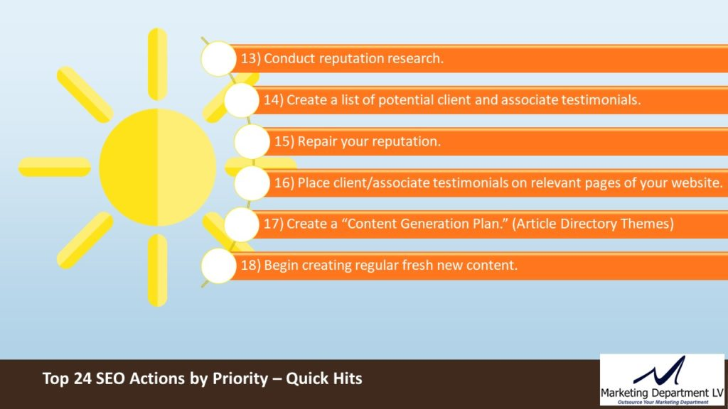 SEO Actions by Priority | Webinar by David Smith in Series Get Your Marketing In Motion with MarketingDepartmentLV.com | Slide 11