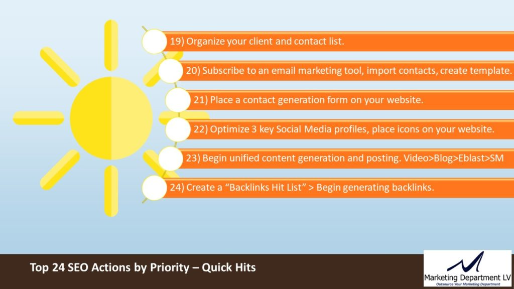 SEO Actions by Priority   Webinar by David Smith in Series Get Your Marketing In Motion with MarketingDepartmentLV.com   Slide 12