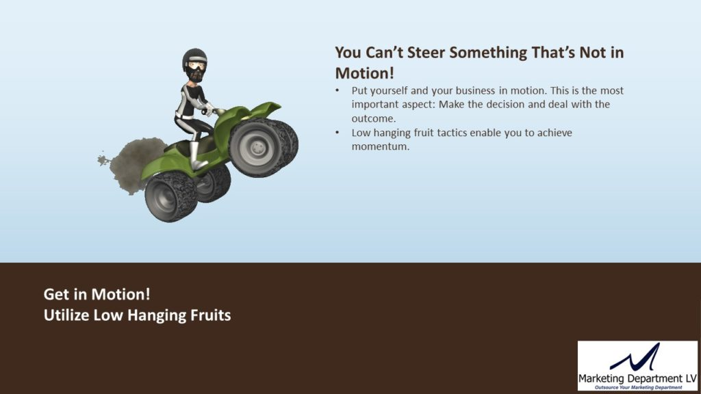 SEO Actions by Priority | Webinar by David Smith in Series Get Your Marketing In Motion with MarketingDepartmentLV.com | Slide 02