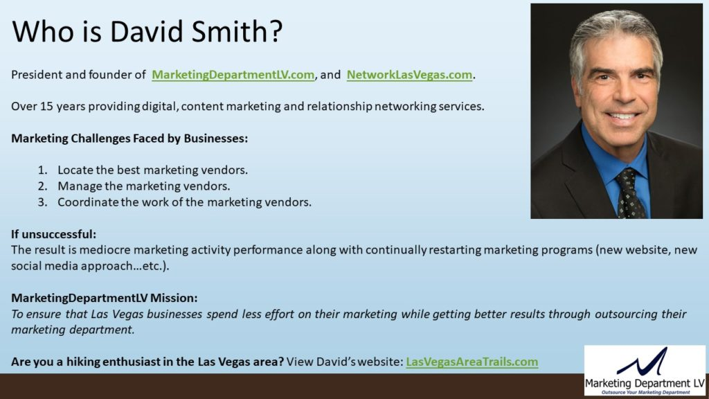 SEO Actions by Priority | Webinar by David Smith in Series Get Your Marketing In Motion with MarketingDepartmentLV.com | Slide 03