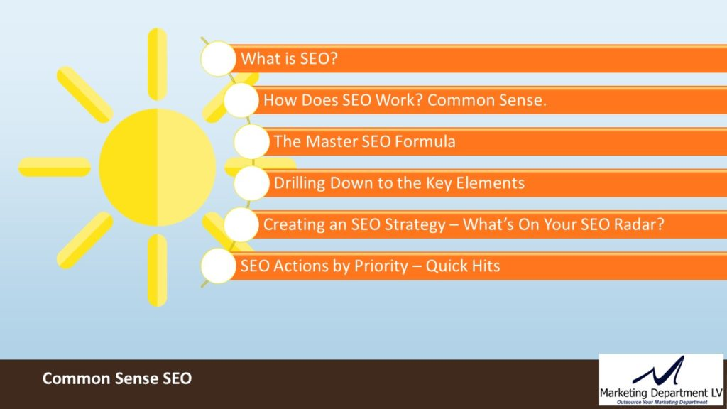 SEO Actions by Priority | Webinar by David Smith in Series Get Your Marketing In Motion with MarketingDepartmentLV.com | Slide 04