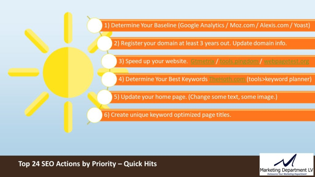 SEO Actions by Priority   Webinar by David Smith in Series Get Your Marketing In Motion with MarketingDepartmentLV.com   Slide 09
